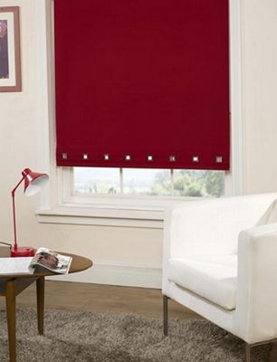 Roller Blind Square Eyelet Detail - Red- 60 cm wide x 165 cm drop