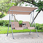 Outsunny Outdoor Double Swing Chair Sun Shade Adjustable Canopy Padded Seat - Beige