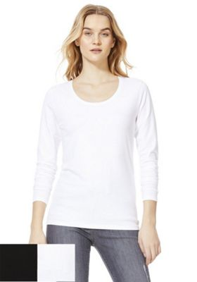 F&F 2 Pack of Scoop Neck Long Sleeve Tops Black/White 20