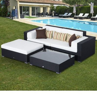 Outsunny Garden Rattan Home Furniture 2 Seater Sofa Set Black