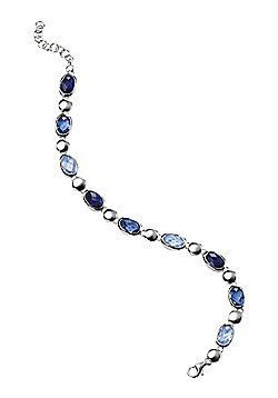 Sparkling Tonal Blue Crystal Silver Bracelet