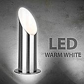 Modern LED Table / Floor Uplighter Lamp, Brushed Chrome & Warm White GU10 Bulb