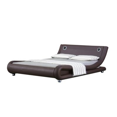 Comfy Living 5ft King Curved Faux Leather Bed Frame in Chocolate with Bluetooth Speakers with 1000 Pocket Comfort Mattress