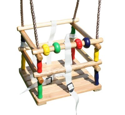 Beechwood Baby Swing Seat with Safety Harness and Play Beads