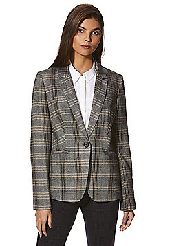 F&F Herringbone Checked Hacking Blazer - Grey & Multi