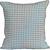 Homescapes Cotton Gingham Check Blue Scatter Cushion, 60 x 60 cm