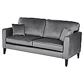 Fox & Ivy Dexter Velvet Large 3 Seater Sofa, Grey