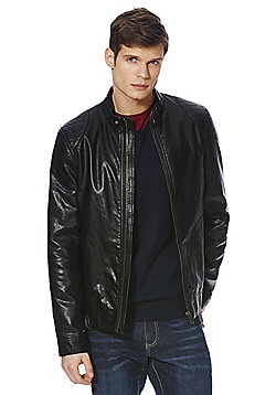 F&F Quilted Shoulder Faux Leather Jacket - Black