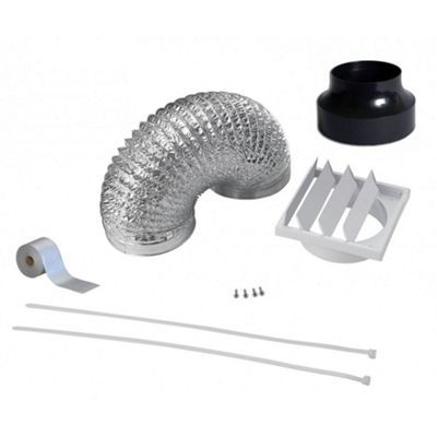 Cookology DK1M120 120mm Universal Foil Ducting Kit   12cm x 1 Metre Flexible Extractor Hose & Outside Wall Vent