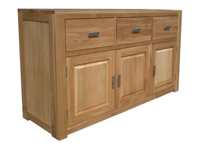 Home Zone Furniture Churchill Oak 2010 Three Drawer / Three Door Sideboard in Natural Oak
