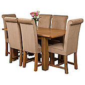 Hampton Extending Kitchen Solid Oak Dining Set Table & 6 Beige Fabric Chairs