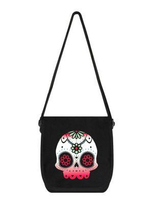 Sugar Skull Flowers Black Mini Messenger Bag 38x33x11cm