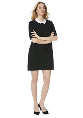 F&F Peter Pan Collar Rib Knit Dress Black 6