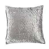 Homescapes Silver Luxury Crushed Velvet Cushion Cover, 60 x 60 cm