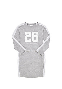 F&F Mesh Stripe Long Sleeve T-Shirt and Tube Skirt Set - Grey marl