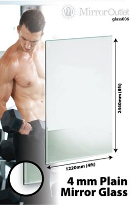 Large Mirror Glass Home Gym Or Bathroom 4Mm Thick 8Ft X 4Ft 244Cm X 122Cm