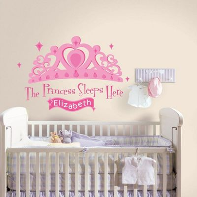 Baby Wall Stickers, Kids Wall Stickers, Girls Nursery Personalised Wall Stickers - Princess Sleeps Here