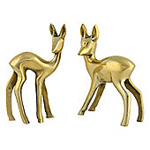Set of 2 Gold Aluminium Standing Baby Deer Christmas Ornaments