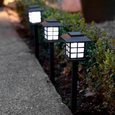 Set of 3 White LED Solar Lantern Stake Lights
