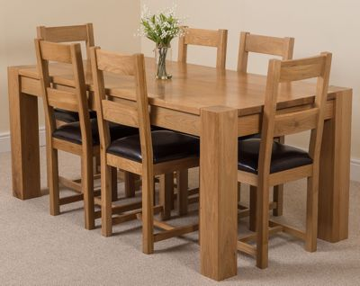 Kuba Chunky Solid Oak 180 Cm Dining Table With 6 Lincoln Leather Chairs