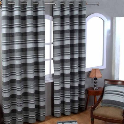 Homescapes Cotton Morocco Striped Grey Curtain Pair, 66 x 72
