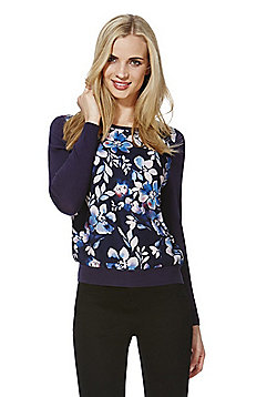 F&F Floral Print Woven Front Jumper - Navy