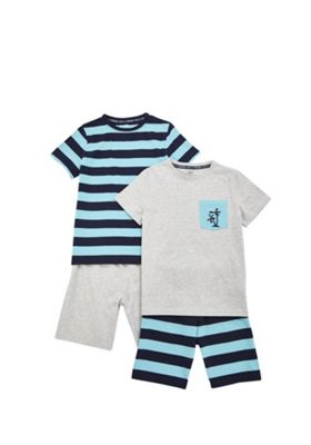 F&F 2 Pack of Striped Short Pyjamas Blue/Grey 3-4 years