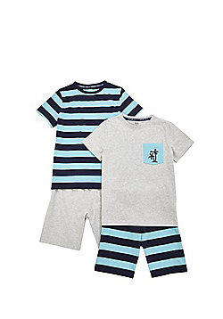 F&F 2 Pack of Striped Short Pyjamas - Blue/Grey
