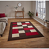 Matrix Check Border Brown & Red Runner - 60x225cm