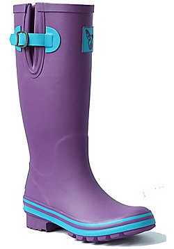 Evercreatures Ladies Eggplant Wellies Turquoise Edging in Purple - Size 4 (UK)