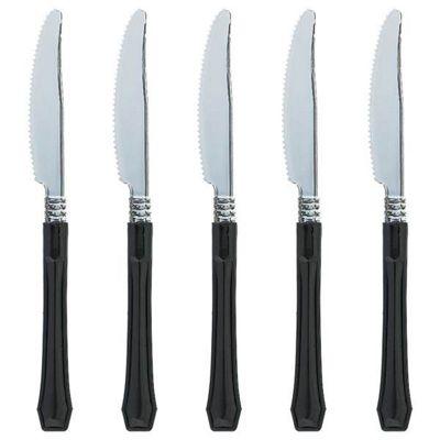 Black Premium Plastic Knives - 20 Pack