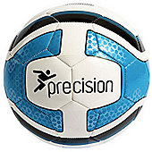Precision Santos Training Ball White/Cyan Blue/Black Size 4