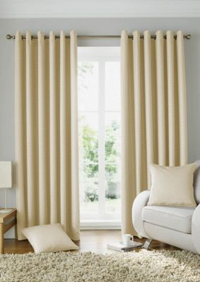 Alan Symonds Lined Solitaire Cream Eyelet Curtains - 46x72 Inches (117x183cm)