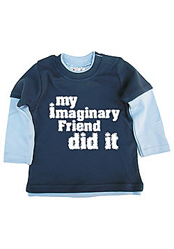 Dirty Fingers My Imaginary Friend did it Baby Skater Top - Navy