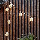 10 Warm White LED Solar Rattan Lantern Fairy Lights