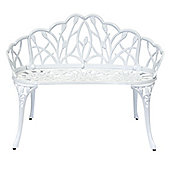 Charles Bentley Cast Aluminium White Tulip Bench