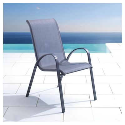 Seville Metal/Waterproof Woven Textile Stacking Chair Charcoal