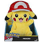 Pokemon Pikachu Large Plush - With Ash Hat