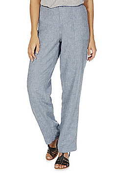 F&F Linen Blend Trousers - Chambray blue