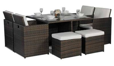 Giardino Small Glass Dining Table Cube Set With 4 Highback Chairs Including  Parasol Rattan Garden Furniture