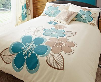 Candice, Teal Floral Double Duvet - Twin Pack
