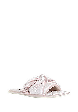 F&F Crushed Velvet Bow Mule Slippers - Pink