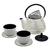 Argon Tableware Japanese Tetsubin Cast Iron Hobnail Teapot / Cups & Saucers Set - 1L (1000ml)