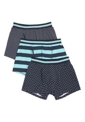 F&F 3 Pack of Spot and Striped Trunks with As New Technology Multi L