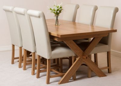 Vermont Solid Oak Extending 200 - 240 cm Dining Table with 6 Ivory Washington Leather Chairs