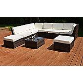Valencia Modular Garden Rattan Corner Sofa Set with Table Grey