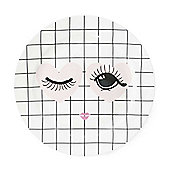 Miss Etoile White Grid Patterned with Winking Heart Eyes Bone China Plate Ø 17 cm