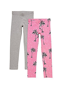 F&F 2 Pack of Palm Print and Plain Leggings - Pink