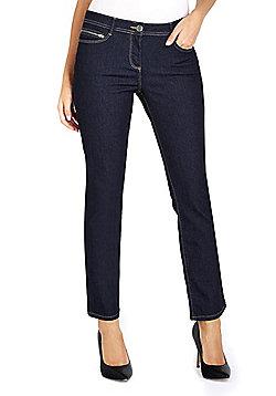 Wallis Petite Harper Zip Pocket Straight Leg Jeans - Indigo