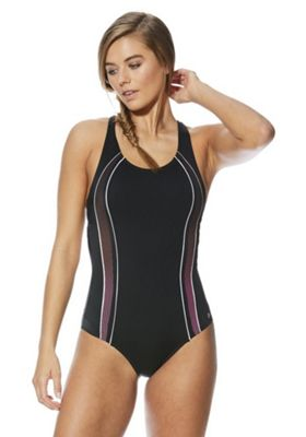 F&F Active Ombre Dot Panel Swimsuit Black 10